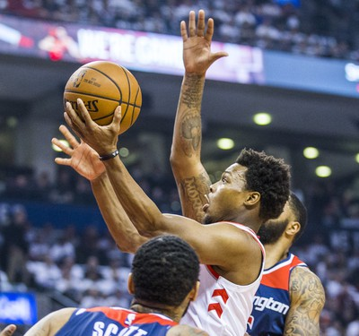 Toronto Raptors Kyle Lowry during 1st half action against the Washington Wizards in Game 2 of the Eastern Conference - First Round at the Air Canada Centre in Toronto, Ont. on Tuesday April 17, 2018. Ernest Doroszuk/Toronto Sun/Postmedia Network