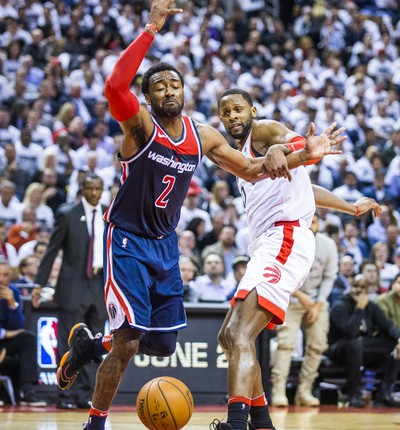 Toronto Raptors C. J. Miles during 2nd half action against the Washington Wizards John Wall in Game 2 of the Eastern Conference - First Round at the Air Canada Centre in Toronto, Ont. on Tuesday April 17, 2018. Ernest Doroszuk/Toronto Sun/Postmedia Network