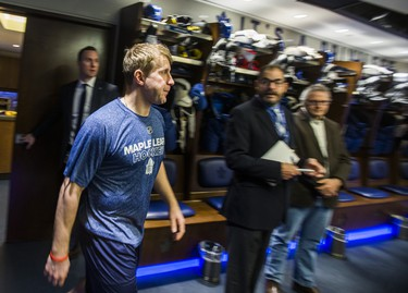 Toronto Maple Leafs Leo Komarov walks out to speak to media during the Leafs locker clean out at the Air Canada Centre in Toronto, Ont. on Friday April 27, 2018. Ernest Doroszuk/Toronto Sun/Postmedia Network