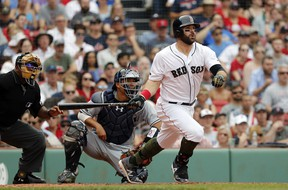 Boston's Mitch Moreland began the season 0-for-12, but has been batting .356 since. (Getty Images)