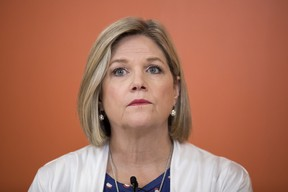 Ontario NDP Leader Andrea Horwath attends a discussion with health care professionals during a campaign stop in Toronto on Thursday, May 24, 2018. THE CANADIAN PRESS/Chris Young ORG XMIT: chy103