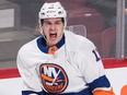 New York Islanders' Mathew Barzal celebrates after scoring against the Montreal Canadiens during first period NHL hockey action in Montreal, Wednesday, Feb. 28, 2018.