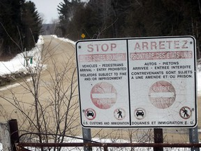 The Canada-USA border in Champlain, N.Y., near Hemmingford, Quebec is seen on Feb. 9, 2017. (Pierre Obendrauf/Postmedia Network)