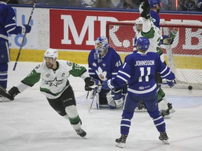 Toronto Marlies goalie Garret Sparks is beaten by a power play goal by Texas Stars Gavin Bayreuther during the third period of the Calder Cup Game 2 in Toronto on Sunday June 3, 2018. Jack Boland/Toronto Sun/Postmedia Network