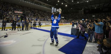 Toronto Marlies captain Ben Smith celebrates winning the Calder Cup after defeating Texas Stars in Game 7 at the Ricoh Coliseum in Toronto, Ont. on Thursday June 14, 2018. Ernest Doroszuk/Toronto Sun/Postmedia