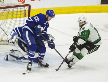 Toronto Marlies Martin Marincin during 3rd period action against Texas Stars Jason Dickinson  in Game 7 on the Calder Cup Finals at the Ricoh Coliseum in Toronto, Ont. on Thursday June 14, 2018. Ernest Doroszuk/Toronto Sun/Postmedia