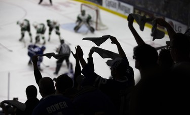 Fans cheer from the seats as the Toronto Marlies take on the Texas Stars in Game 7 of the Calder Cup Finals at the Ricoh Coliseum in Toronto, Ont. on Thursday June 14, 2018. Ernest Doroszuk/Toronto Sun/Postmedia