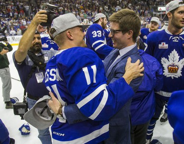 Toronto Maple Leafs GM Kyle Dubas and Toronto Marlies Andreas Johnsson celebrate Marlies Calder Cup victory against the Texas Stars in Game 7 at the Ricoh Coliseum in Toronto, Ont. on Thursday June 14, 2018. Ernest Doroszuk/Toronto Sun/Postmedia