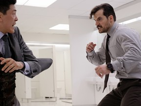 Left to right: Liang Yang and Henry Cavill in MISSION: IMPOSSIBLE - FALLOUT, from Paramount Pictures and Skydance.