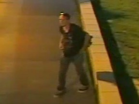 An image released by Peel police of a suspect in two alleged indecent acts at Malton GO bus terminal in June.