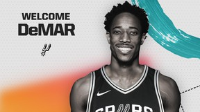 The San Antonio Spurs tweeted this image of DeMar DeRozan after the deal was finalized on Wednesday, July 18, 2018.