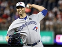 J.A. Happ of the Toronto Blue Jays and the American League pitches in the 10th inning against the National League during the 89th MLB All-Star Game at Nationals Park on July 17, 2018 in Washington, DC.  (PATRICK SMITH/Getty Images)