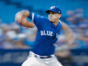 Toronto Blue Jays starting pitcher Thomas Pannone  works against the Baltimore Orioles during first inning AL baseball action in Toronto on Wednesday, August 22, 2018. THE CANADIAN PRESS/Nathan Denette