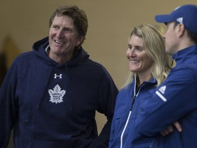 Toronto Maple Leafs head coach Mike Babcock and Hayley Wickenheiser between periods as the Toronto Maple Leafs hold their Development Camp Scrimmage at the MasterCard Centre in Etobicoke on June 28, 2018. Stan Behal/Toronto Sun