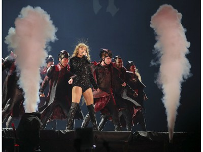 Taylor Swift performs on stage during her reputation Stadium Tour at the Rogers Centre in Toronto, Ont. on Friday August 3, 2018. Veronica Henri/Toronto Sun/Postmedia Network