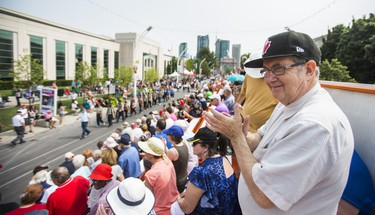 David Gould shows his support from the stands during the the WarriorsÕ Day Parade at the CNE in Toronto, Ont. on Saturday August 18, 2018. Ernest Doroszuk/Toronto Sun/Postmedia