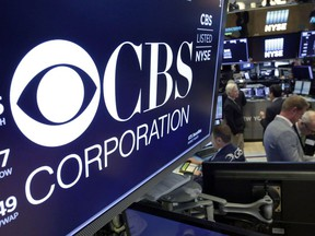 U.S. broadcaster CBS Corp. will open a television and film production hub in Toronto. The logo for CBS Corporation is displayed above a trading post on the floor of the New York Stock Exchange, Monday, July 30, 2018. The company says the hub will include six sound stages, offices and other technical facilities.