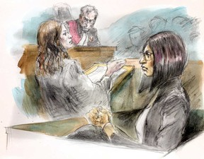 """Crown attorney Maeve Mungovan gives her opening remarks to the jury as Justice Robert Clark looks on during the  murder trial of Curtis """"Moka"""" Dawkins on Friday, Sept. 20, 2018. (Pam Davies sketch)"""