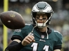 FILE - In this Sunday, Sept. 23, 2018 file photo,Philadelphia Eagles quarterback Carson Wentz (11) ahead of an NFL football game the Indianapolis Colts in Philadelphia. The Eagles visit the Tennessee Titans hoping to have back some key players on offense and Carson Wentz getting more comfortable in his second game back from his own torn ACL. Tennessee expects quarterback Marcus Mariota to start his first game since hurting the elbow on his right, throwing arm in the season opener. (AP Photo/Matt Rourke, File) ORG XMIT: NY156