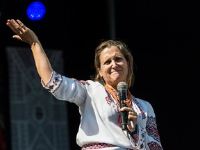 Minister of Foreign Affairs Chrystia Freeland gives remarks at the Bloor West Village Toronto Ukrainian Festival in Toronto, on Saturday, Sept. 15, 2018.