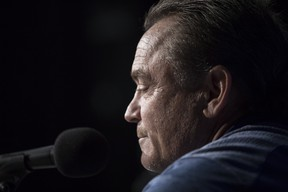 Blue Jays Manager John Gibbons attends a news conference in Toronto on Wednesday, Sept. 26, 2018. The Blue Jays announced that Gibbons will be leaving his position at the end of the season. (THE CANADIAN PRESS)