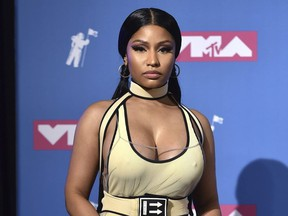 In this Aug. 20, 2018 file photo, Nicki Minaj poses in the press room at the MTV Video Music Awards in New York.