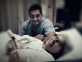 Orthopedic surgeon Dr. Sebastian Rodriguez visiting Rita DeMontis moments after surgery is over