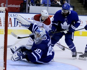 Maple Leafs goaltender Garret Sparks flops around on the ice during Toronto's pre-season loss to the Montreal Canadiens on Monday night at Scotiabank Arena. (Veronica Henri/Toronto Sun)