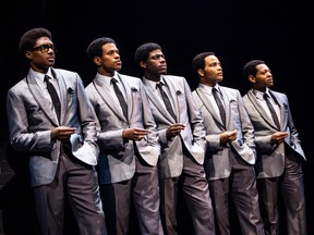 """Ephraim Sykes, Jeremy Pope, Jawan M. Jackson, James Harkness & Derrick Baskin are seen in this handout photo from the new Temptations musical """"Ain't Too Proud - The Life and Times of the Temptations."""" THE CANADIAN PRESS/HO, Matthew Murphy"""