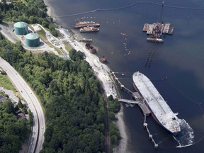 A aerial view of Kinder Morgan's Trans Mountain marine terminal, in Burnaby, B.C., is shown on May 29, 2018.