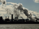 The steel mills in the Hamilton waterfront harbour are shown in Hamilton on Oct. 23, 2018. (The Canadian Press)