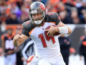 Ryan Fitzpatrick of the Tampa Bay Buccaneers runs with the ball against the Cincinnati Bengals at Paul Brown Stadium on Oct. 28, 2018 in Cincinnati, Ohio.