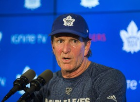 Toronto Maple Leafs head coach Mike Babcock addresses media following a Leafs game day skate at the Scotiabank Arena in Toronto on Monday Oct. 29, 2018. Ernest Doroszuk/Toronto Sun