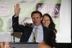 Newly-elected Brampton mayor Patrick Brown, joined by wife Genevieve, waves to supporters after his election win Monday night.  (Jack Boland/Toronto Sun)
