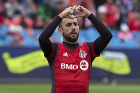 Toronto FC's Victor Vazquez celebrates scoring against the Chicago Fire during first half MLS soccer action in Toronto on Saturday, April 28, 2018.  THE CANADIAN PRESS/Chris Young