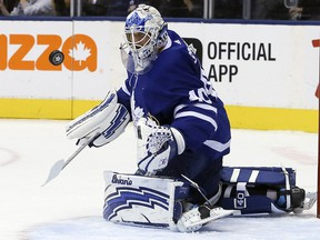 Toronto Maple Leafs goaltender Garret Sparks makes a save against the Los Angeles Kings Monday, October 15, 2018 at the Scotiabank Arena. (Veronica Henri/Toronto Sun)