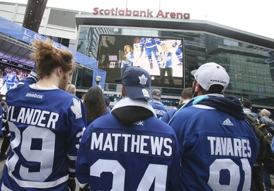 Toronto Maple Leaf fans for the opening game on Wednesday October 3, 2018.The Toronto Maple Leafs host the Montreal Canadiens at the ScotiaBank Arena in Toronto.Veronica Henri/Toronto Sun/Postmedia Network