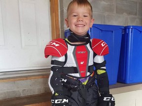 Before falling ill on the Labour Day Weekend, Xavier Downton, 4, was looking forward to his first season of hockey. (Downton family photo)