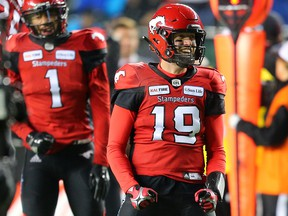 Calgary Stampeders quarterback Bo Levi Mitchell celebrates after throwing a touch down pass to Lemar Durant during the first half of the 106th Grey Cup at Commonwealth Stadium in Edmonton on Sunday Nov. 25, 2018.