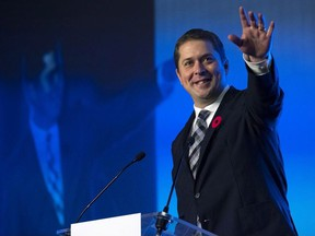 Federal Conservative Party Leader Andrew Scheer, speaks at the Nova Scotia PC Party leadership convention in Halifax on Saturday, October 27, 2018.