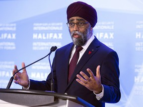 Canadian Defence Minister Harjit Sajjan fields questions at the opening news conference of the Halifax International Security Forum in Halifax on Friday, Nov. 16, 2018. (The Canadian Press/Andrew Vaughan)