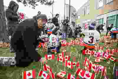 Toronto Mayor John Tory places several of the 47,500 Canadian flags on the lawns outside of Sunnybrook Veterans Centre on the grounds at Sunnybrook Health Sciences Centre in Toronto, Ont. on Saturday November 10, 2018. There were 100 flags for each of the 475 veterans that live there. Ernest Doroszuk/Toronto Sun/Postmedia