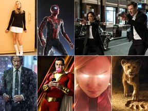 Clockwise from top left: Margot Robbie as Sharon Tate in Once Upon a Time in Hollywood; Tom Holland as Spider-Man; Tessa Thompson and Chris Hemsworth in Men in Black: International; The Lion King; Brie Larson as Captain Marvel; Zachary Levi in Shazam!; and Keanu Reeves as John Wick.