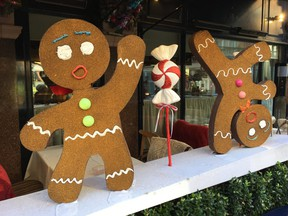 Whimsical gingerbread decorations at George, a Mayfair member's club restaurant. Shops and restaurants around London go big with decorating for the holidays. (ROBIN ROBINSON)