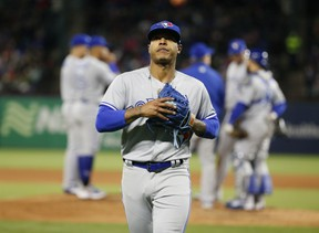 Toronto Blue Jays starting pitcher Marcus Stroman has been involved in trade talks with San Diego. (AP PHOTO)