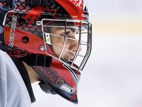 Canada goalie Michael DiPietro stretches during team practice for the IIHF World Junior Hockey Championships, in Vancouver on Tuesday, Dec. 25, 2018. Canada is scheduled to play Denmark in their first game on Wednesday.
