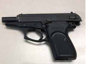 A loaded Bersa S.A. .380 firearm that Toronto Police say they seized on Dec. 27, 2018. A boy, 17, faces charges.