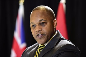 Justice Michael Tulloch releases his recommendations on how to enhance oversight of policing in the province at a news conference in Toronto on April 6, 2017. THE CANADIAN PRESS/Frank Gunn