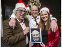 Mike Strobel with the late Mort Greenberg's nephew Sheldon Ehrenworth and friend Elizabeth Shelton who carried on Mort's fund-raising for the Sun Christmas Fund for Variety Village. Taken on Friday December 21, 2018. Ernest Doroszuk/Toronto Sun/Postmedia
