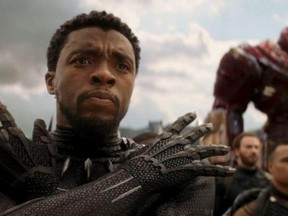 """Black Panther (Chadwick Boseman) sharpens his senses for battle against Thanos in the trailer for """"Avengers: Infinity War."""" (Disney-Marvel photo)"""